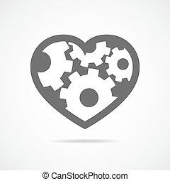 Icon of heart with gears inside. Vector illustration.