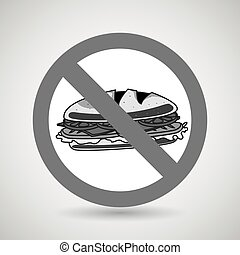 sandwich fast food unhealth prohibited vector illustration...