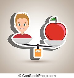 man cartoon fruit apple balance