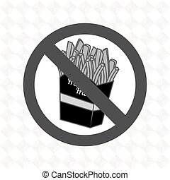fries fast food unhealth prohibited vector illustration eps...