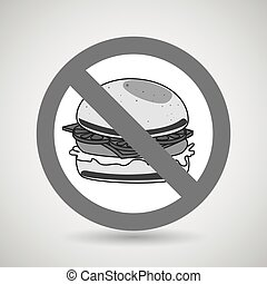 burger fast food unhealth prohibited vector illustration eps...