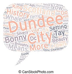Dundee History And Guide text background wordcloud concept