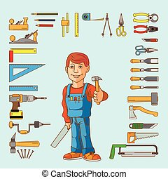 Handyman and set of hand tools for productive work. Vector...