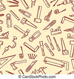 Seamless set of hand tools for productive work. Vector...