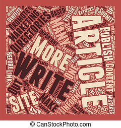 Essentials Before You Submit To Article Directories text background wordcloud concept