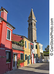 Colourfully painted houses and Leaning tower on Burano...