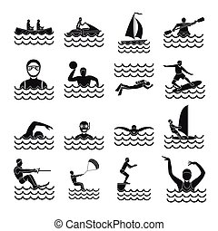 Water sport icons set, simple style - Water sport icons set....
