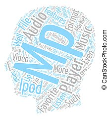 Features Of Your MP Player text background wordcloud concept