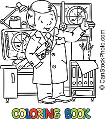 Funny engineer or inventor. - Coloring picture of funny...