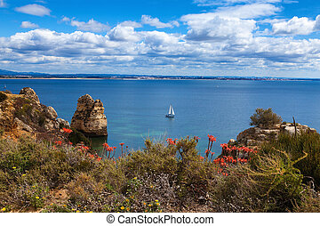 Wonderful view of beautiful coastline Algarve Portugal