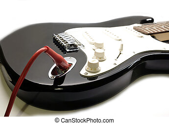 Part of modern electric six string guitar black color...