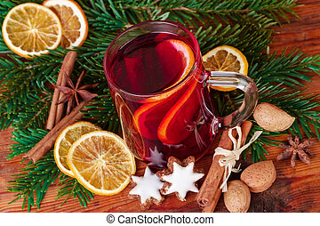 glass of mulled wine closeup