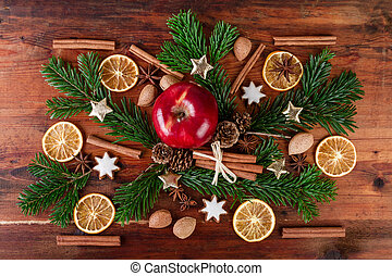 traditional christmas spices with red apple countrified...