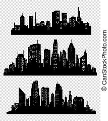 Set of vector cities silhouette. Vector city icon collection
