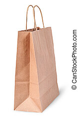 Empty open brown paper bag for shoping