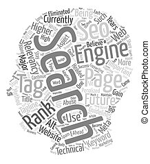 Future Relevancy or Page Rank text background wordcloud concept
