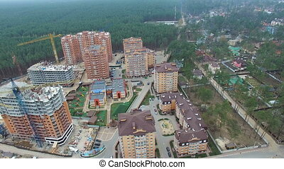 Construction of apartment houses. view from above with quadrocopters