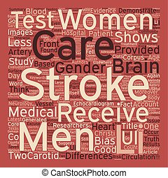 Gender Bias in Stroke Care text background wordcloud concept