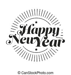 Happy New Year lettering vector black