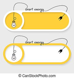 Set of two vector abstract buttons with theme of smart energy