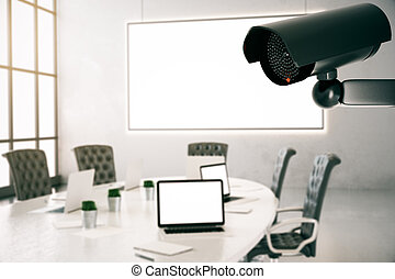 Room with CCTV camera - Modern conference room inteior with...