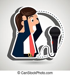 man speaker radio microphone vector illustration eps 10
