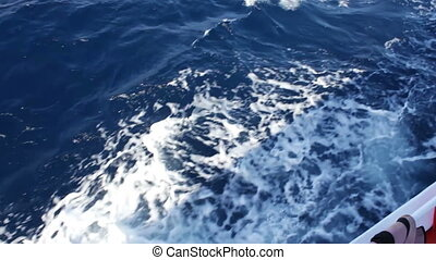 blue sea water passing view from a moving boat