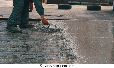 Alignment Concrete Screed - Pouring, laying concrete at the...