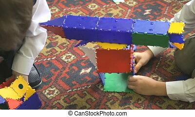 Children playing intellectual games. Close-up - Children...