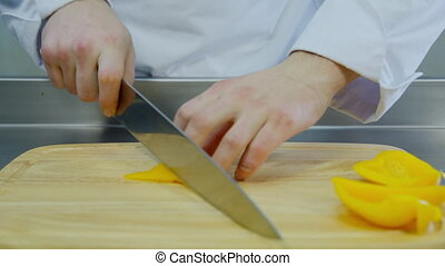 the chef cut yellow pepper