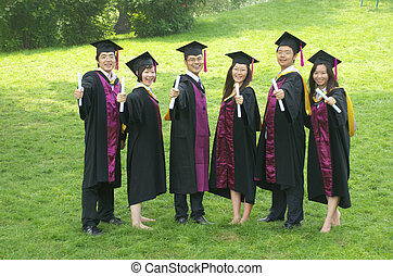 graduation - Asian students wear gown on graduation day
