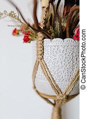 macrame, Joyas, ramo, florero, tejido, terrario, tenedor