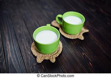 leche, Ba, Platos, té, tejido, caliente, estante, tazas,...