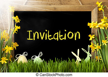 Sunny Narcissus, Easter Egg, Bunny, Text Invitation -...