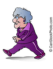 grandma jogging - illustration of a grandma doing jogging on...