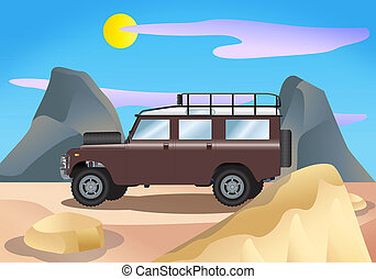 land rover illustration - illustration of a metal vintage...