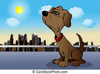loyal dog - illustration of a loyal Brown Puppy Dog sit on...