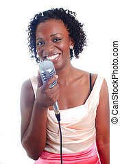 Singer - pretty young african-american woman performing...
