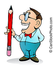 man hold a giant pencil