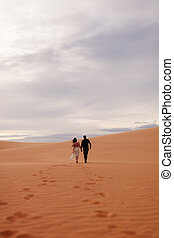 couple travel sand dune. Sand and sky view