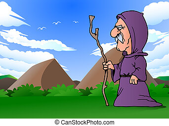 priest journey - illustration of a priest hold cane walking...