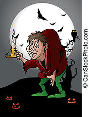 hunchback hold candle - illustration of a hunchback man hold...