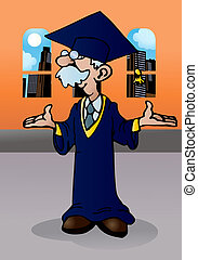 doctoral graduation - illustration of a doctoral graduation...
