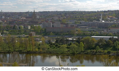 Panoramic view of Prague cityscape in summer time, Czech...