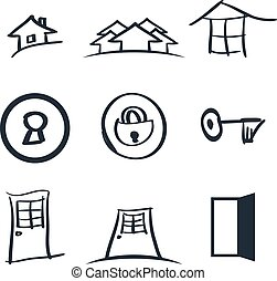 Set of nine realestate logos vector illustration