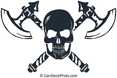 Skull with Crossed Axes isolated on white. Vector...