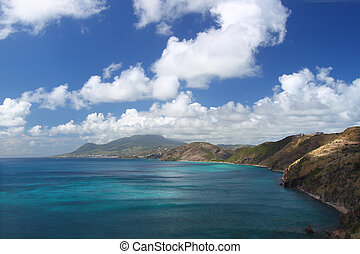 Majestic coastline of Saint Kitts - Spectacular coastline on...
