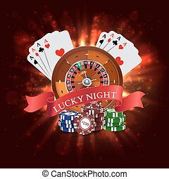 Casino. Roulette with Red Ribbon Lucky night. Vector