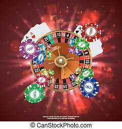 Casino Roulette Playing Cards wtf Falling Chips. Vector