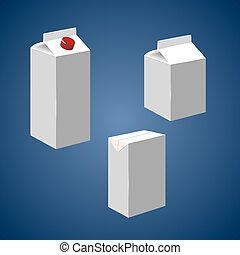 Juice milk blank white carton boxes packages isolated icons...